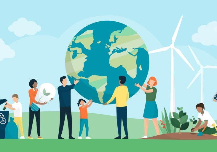 Multiethnic group of people cooperating for environmental protection and sustainability in a park: they are supporting earth together, recycling waste, growing plants and choosing renewable energy resources
